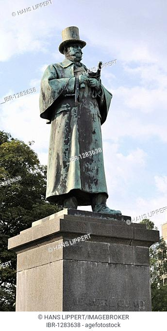 Statue of Alexandria Kielland, Norwegian author, Stavanger, Norway, Scandinavia, Northern Europe
