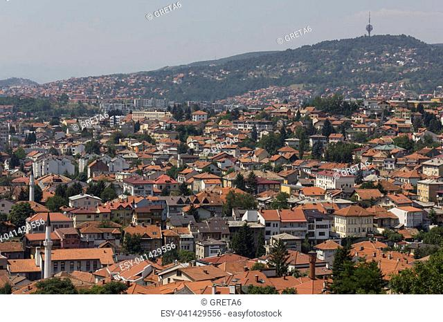 View from the top of sarajevo city in summer season
