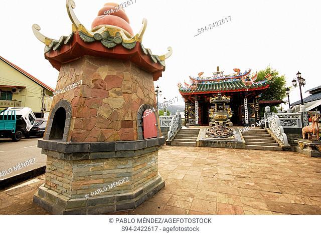 Chinese temple in a square of Lundu, Western Sarawak, Malaysia, Borneo