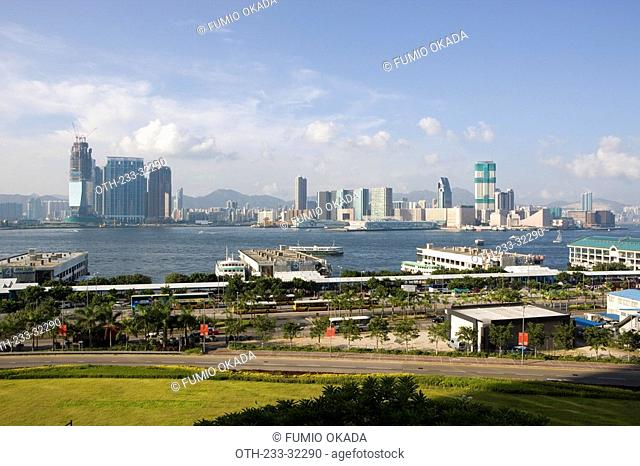 Outlying Island Ferry Piers inCentral overlooking Kowloon skyline, Hong Kong
