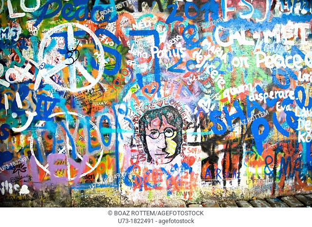 The colorful John Lennon wall in Prague