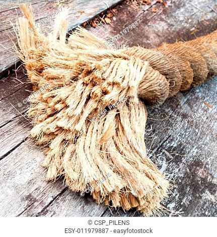 Frayed end of sisal rope lying on weathered wood