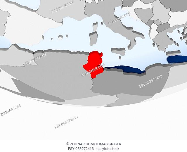 Tunisia on 3D model of political globe with transparent oceans. 3D illustration