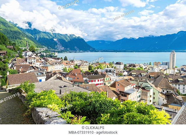 The old Montreux and Leman lake, Canton of Vaud, Switzerland, Swiss alps
