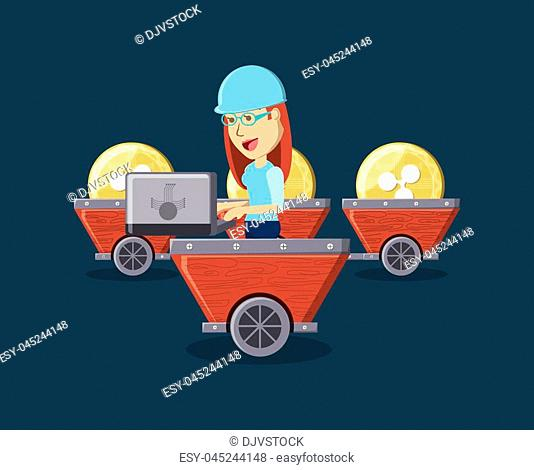 Mining cryptocoins design with over background, colorful design. vector illustration