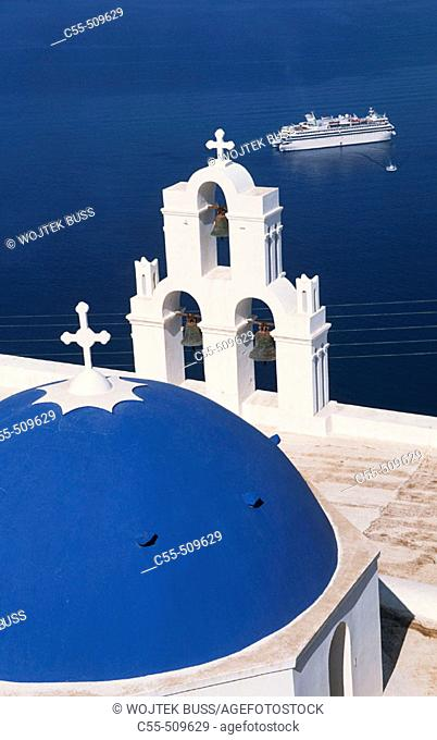 Greece, Santorini, Firostefani, church