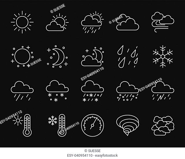 Weather thin line clear icons set. Outline monochrome web sign kit of meteorology. Climate linear icon collection includes rain, wind, snow