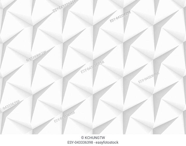 White three pointed star background, 3d render abstract pattern top view