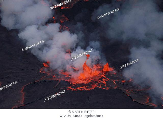 Africa, Congo, View of lava erupting from Nyiragongo mountain