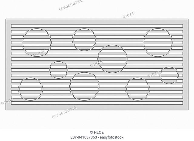 Template for cutting. Circle line pattern. Laser cut. Ratio 1:2. Vector illustration