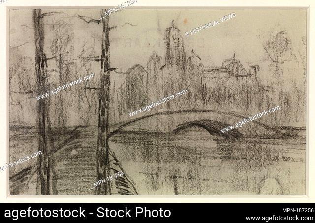 Untitled (River Landscape with Bridge). Artist: Piet Mondrian (Dutch, Amersfoort 1872-1944 New York); Date: ca. 1897-1907; Medium: Black chalk on postcard;...