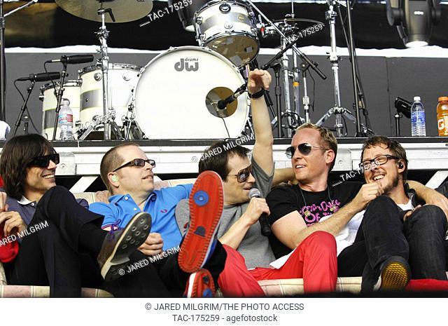 (L-R) Brian Bell, Patrick Wilson, Rivers Cuomo, Josh Freese, and Scott Shriner of Weezer performs at The 2009 KROQ Weenie Roast Y Fiesta at Verizon Wireless...