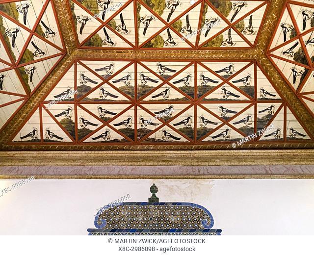 Palacio Nacional de Sintra, the national palace in Sintra, near Lisbon, part of the UNESCO world heritage. The magpie hall (Sala das Pegas)