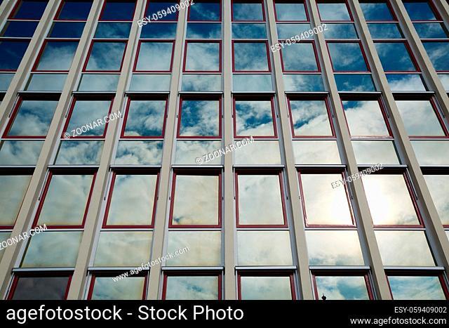 Modern office building detail, glass surface