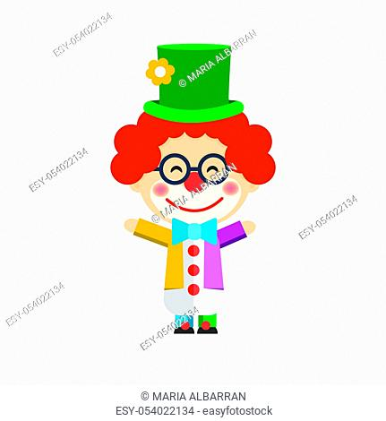 Isolated boy dressed as a clown. Vector illustration
