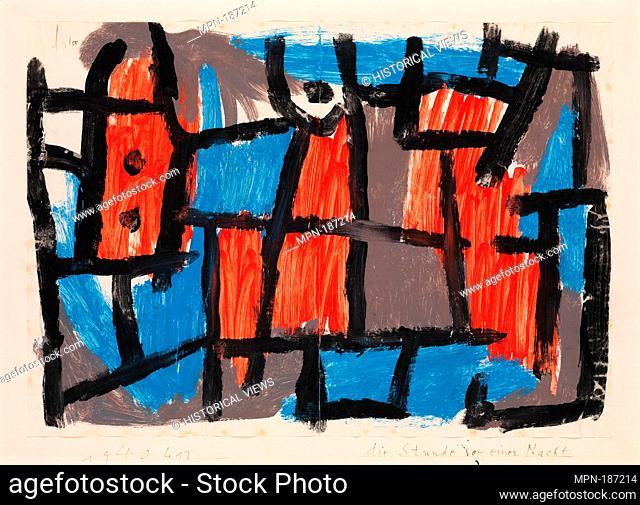The Hour Before One Night. Artist: Paul Klee (German (born Switzerland), Münchenbuchsee 1879-1940 Muralto-Locarno); Date: 1940; Medium: Gouache on paper mounted...