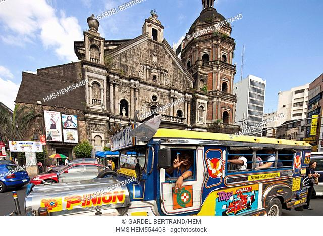 Philippines, Luzon island, Manila, Binondo district, Binondo church and a jeepney