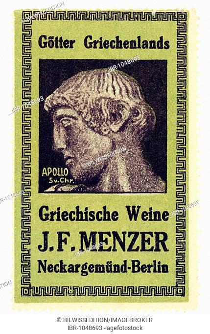 German trading stamp, Goetter Griechenlands, Griechische Weine J. F. Menzer, Neckargemuend-Berlin, Apollo