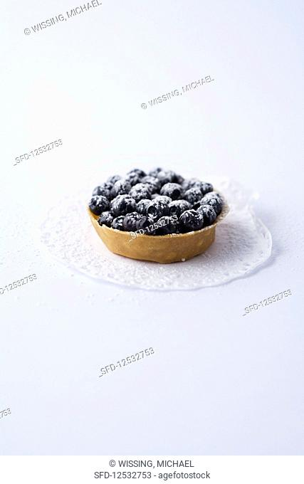 A mini tartlet with blueberries against a white background