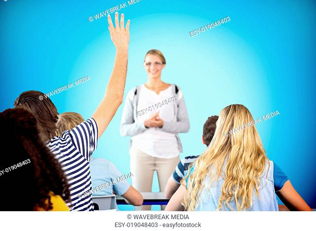 Composite image of student raising hand in classroom