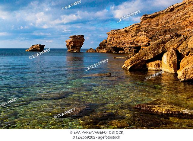 Rock formation close to Punta Gavina. Formentera (Balearic Islands)