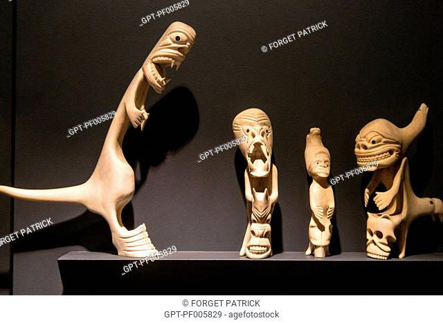 SCULPTED FIGURES, IVORY SCULPTURE, NATIONAL MUSEUM OF ETHNOLOGY AND INUIT ART, NUUK, GREENLAND