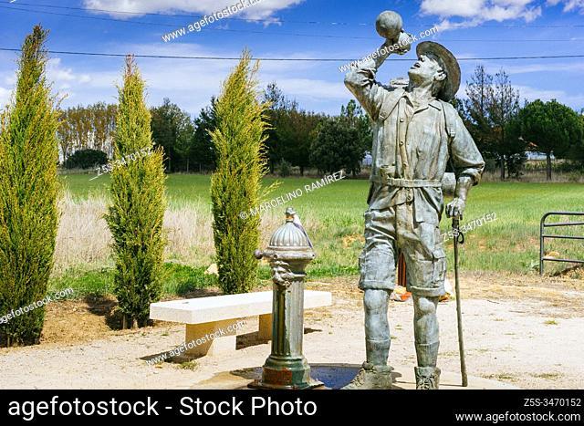 Bronze sculpture honors the pilgrim upon arrival in San Justo de la Vega - Astorga. French Way, Way of St. James. San Justo de la Vega, Astorga, León