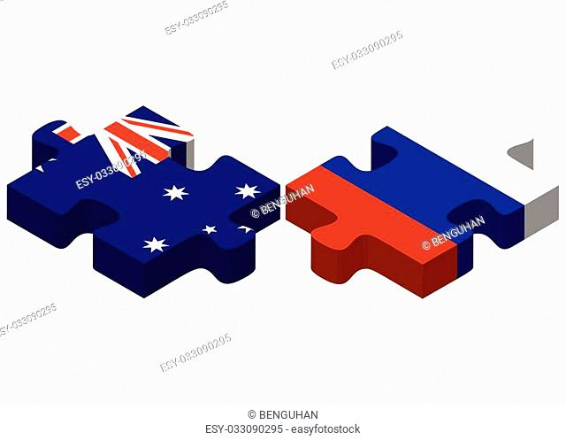 Vector Image - Australia and Russian Federation in puzzle isolated on white background
