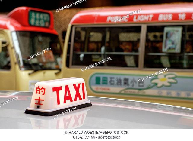 Hong Kong, China, Asia. Hong Kong Kowloon. Transport by taxi and bus