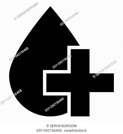 Drop and cross icon black color vector illustration flat style simple image