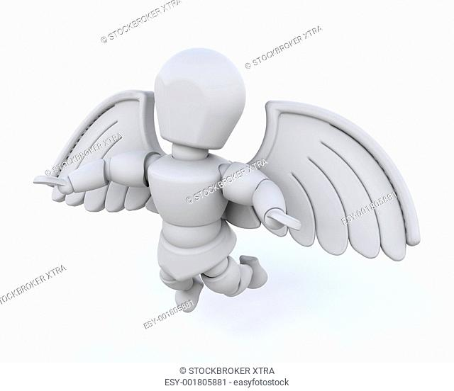 3d render of man with wings isolated on white