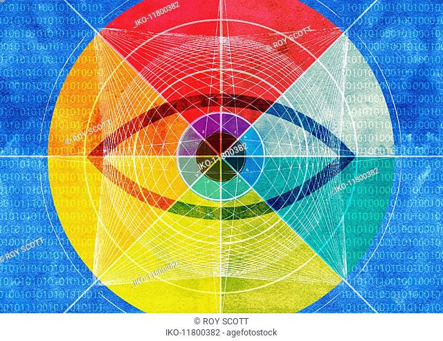 Eye at the centre of network pattern and binary code
