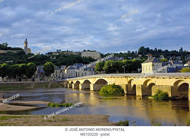 Chinon Castle and Vienne River, Chinon, Indre-et-Loire, Loire Valley, France