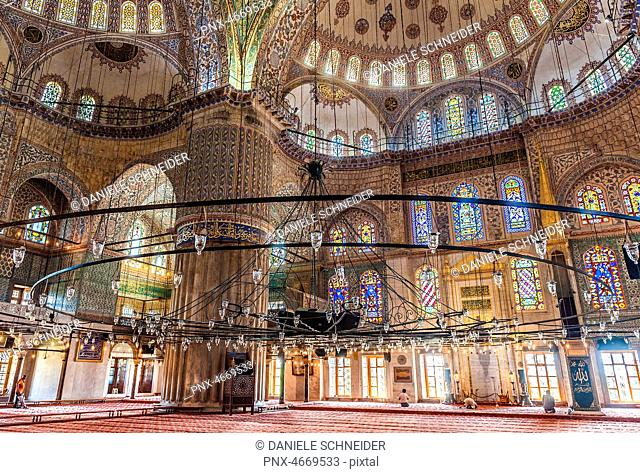 Turkey, Istanbul, Blue Mosque's prayer room (1616 by Mehmet Aga, Sinan's pupil) (UNESCO World Heritage)