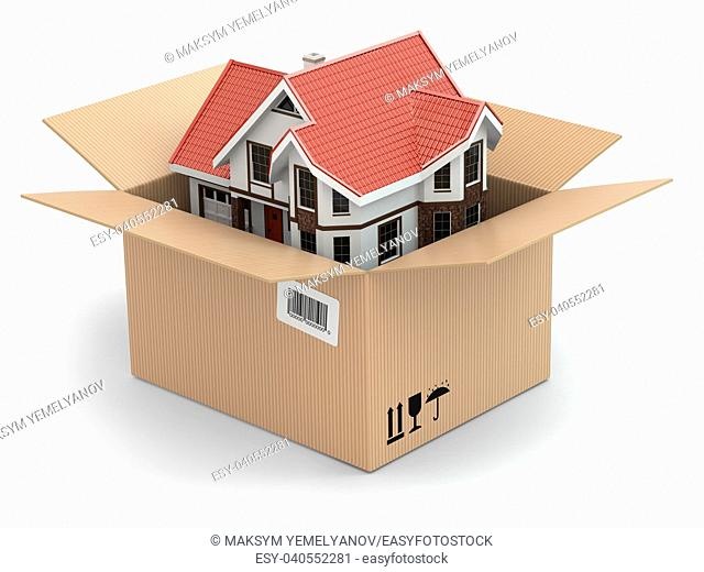 Moving house. Real estate market. Three-dimensional image