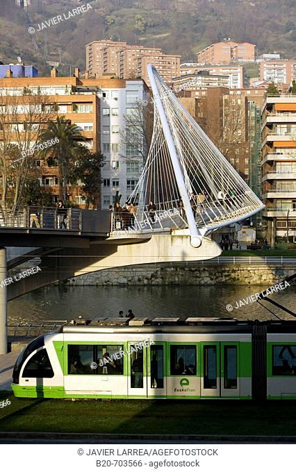View of 'Pasarela de Uribitarte' bridge, also called 'Zubi-Zuri' (means white bridge in Basque), designed by Santiago Calatrava. Bilbao