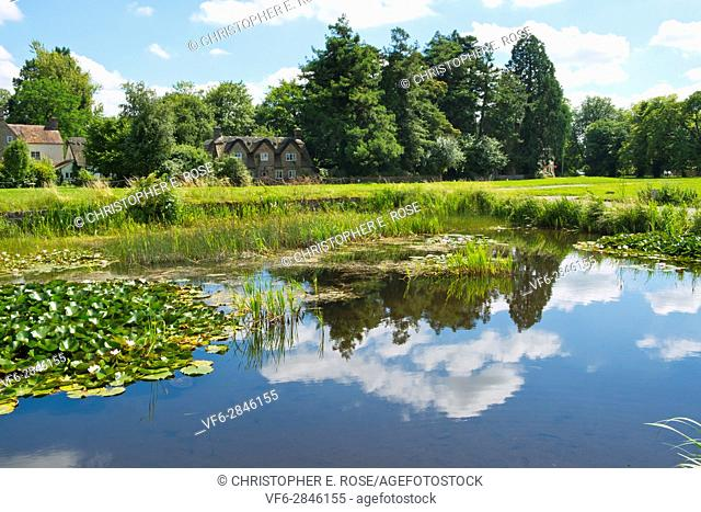 Idyllic homes around the picturesque village green and ponds at Frampton on Severn, Gloucestershire, UK