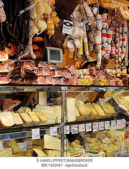 Typical South Tyrolean bacon, salami and cheese, Bolzano, South Tyrol, Tyrol, Italy, Europe