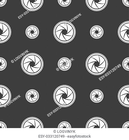 diaphragm icon. Aperture sign. Seamless pattern on a gray background. illustration