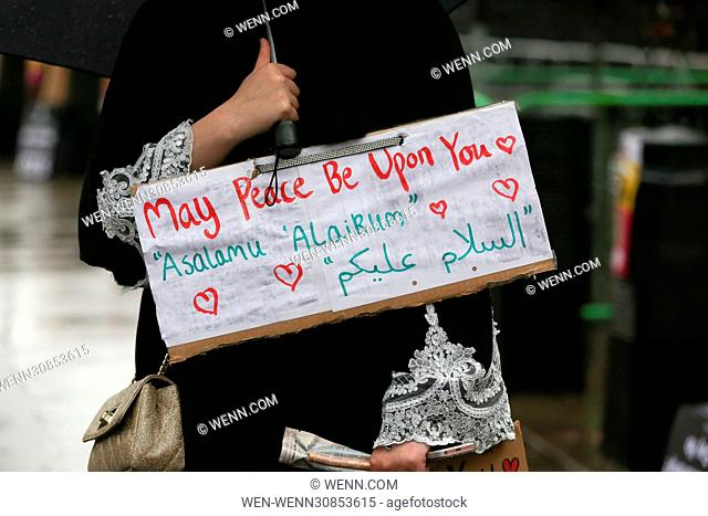 People demonstrate outside US Embassy in London against US President Donald Trump's executive order banning people from seven Muslim-majority countries entry to...