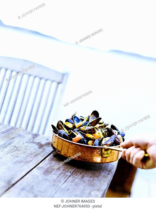 Clams in a saucepan on a table, Sweden
