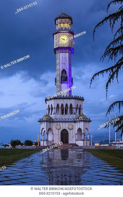 Georgia, Batumi, Cha Cha Tower, dusk