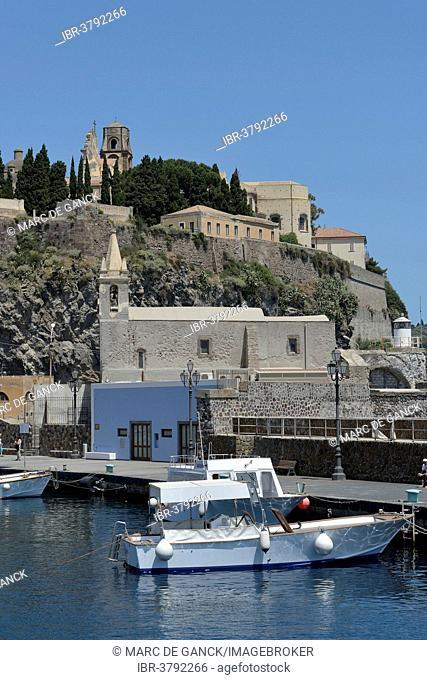 Harbor of Lipari town, Lipari island, UNESCO World Heritage site, Aeolian Islands, Italy