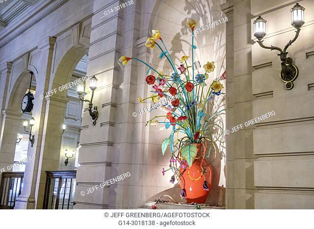 Argentina, Buenos Aires, Plaza del Correo, Centro Cultural Kirchner CCK, cultural centre, landmark, interior, installation, Roman Vitali, acrylic flowers