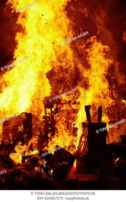 Fallas popular fest burning cartoon paper mache figures on March 19 th yearly