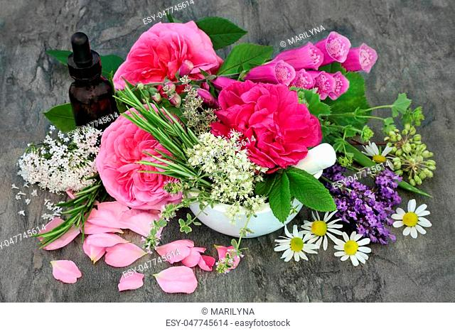 Flowers and herbs used in naturopathic alternative medicine with essential oil bottle and mortar with pestle