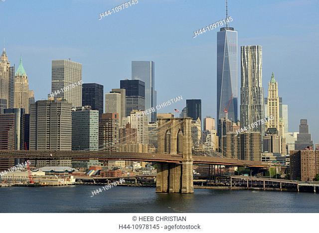 USA, United States, America, New York, East river, Brooklyn Bridge, bridge, freedom tower, skyline, city
