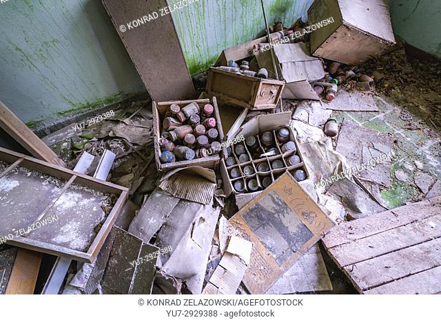 Old medicines in hospital complex in Pripyat ghost city of Chernobyl Nuclear Power Plant Zone of Alienation in Ukraine