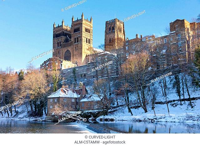 Durham Cathedral in the winter snow England UK