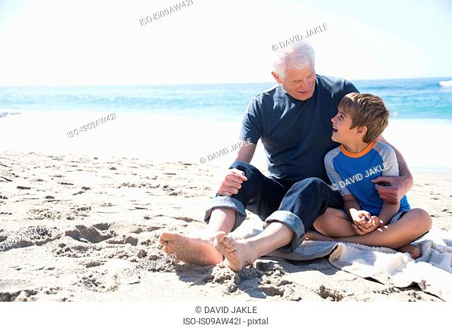 Grandfather and grandson sitting on beach, smiling